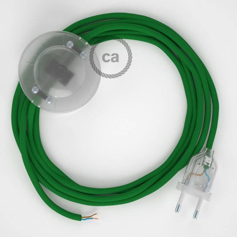 Strijkijzersnoer set RM06 groen viscose 3 m. voor staande lamp met stekker en voetschakelaar.