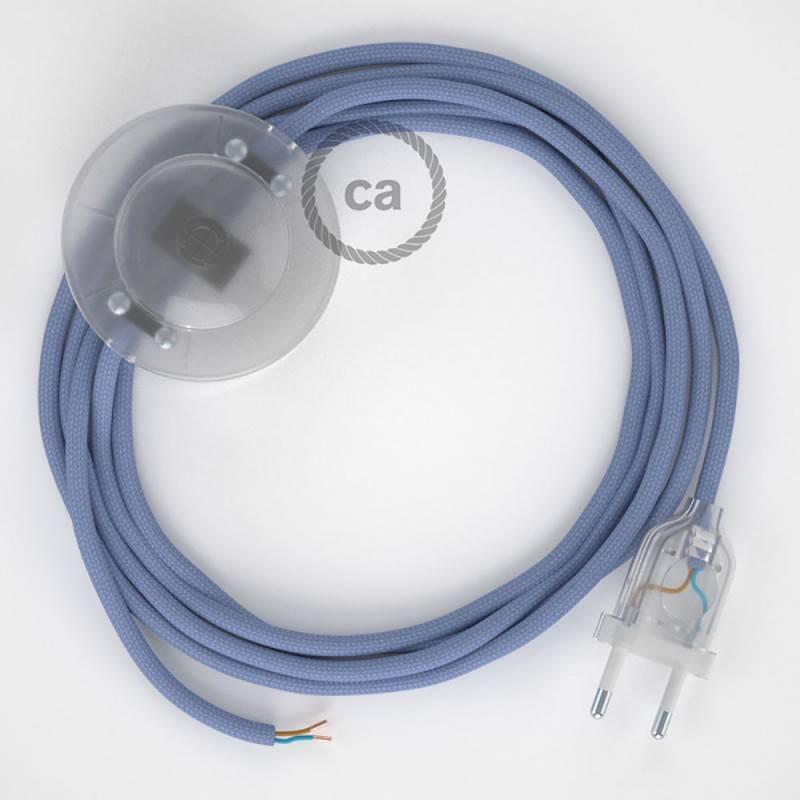 Strijkijzersnoer set RM07 lila viscose 3 m. voor staande lamp met stekker en voetschakelaar.