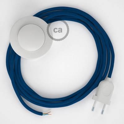Strijkijzersnoer set RM12 blauw viscose 3 m. voor staande lamp met stekker en voetschakelaar.