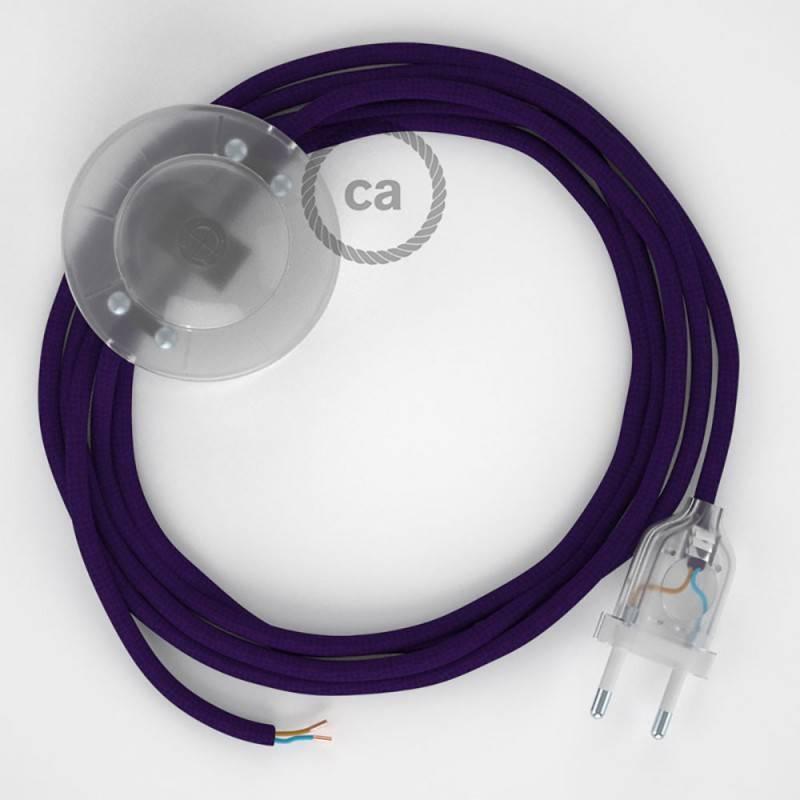 Strijkijzersnoer set RM14 paars viscose 3 m. voor staande lamp met stekker en voetschakelaar.