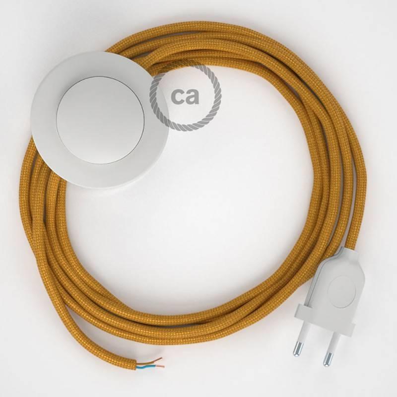 Strijkijzersnoer set RM05 goud viscose 3 m. voor staande lamp met stekker en voetschakelaar.