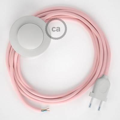 Strijkijzersnoer set RM16 baby roze viscose 3 m. voor staande lamp met stekker en voetschakelaar.