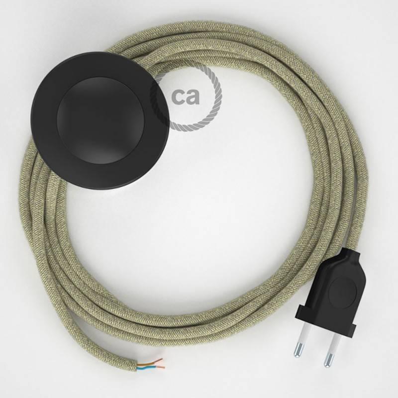 Strijkijzersnoer set RN01 neutraal natuurlijk linnen 3 m. voor staande lamp met stekker en voetschakelaar.