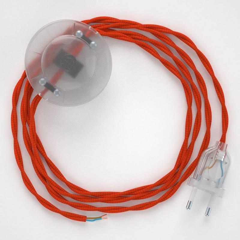Strijkijzersnoer set TM15 oranje viscose 3 m. voor staande lamp met stekker en voetschakelaar.