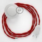 Strijkijzersnoer set TM09 rood viscose 3 m. voor staande lamp met stekker en voetschakelaar.