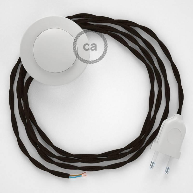 Strijkijzersnoer set TM13 bruin viscose 3 m. voor staande lamp met stekker en voetschakelaar.