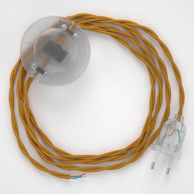 Strijkijzersnoer set TM05 goud viscose 3 m. voor staande lamp met stekker en voetschakelaar.