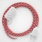 Ronde flexibele textielkabel van viscose met schakelaar en stekker.TO207 - tweekleurig wit/rood 1,80 m.