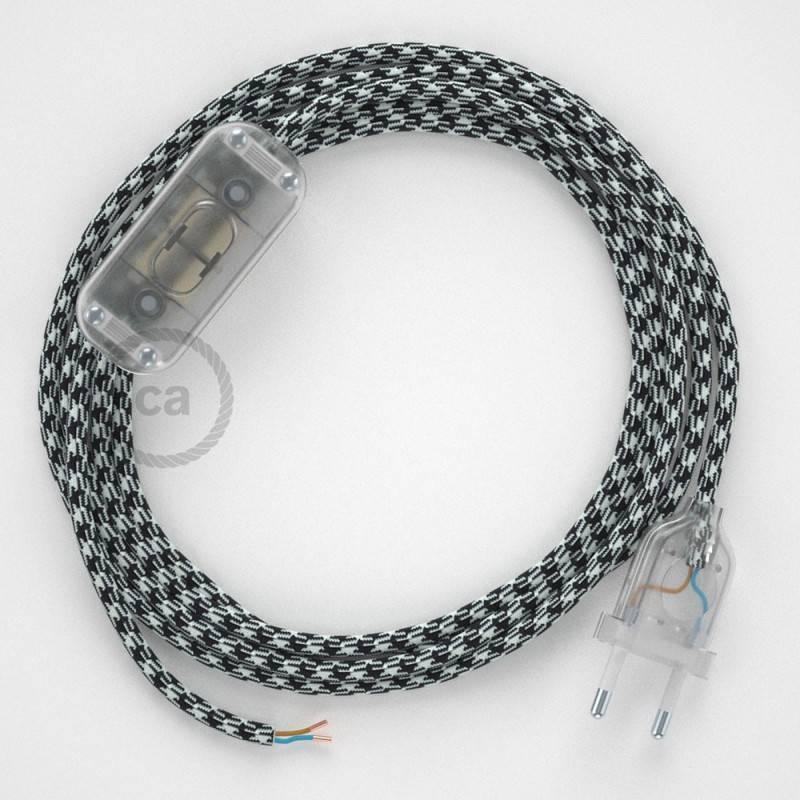 Ronde flexibele textielkabel van viscose met schakelaar en stekker.TO212 - tweekleurig wit/zwart 1,80 m.