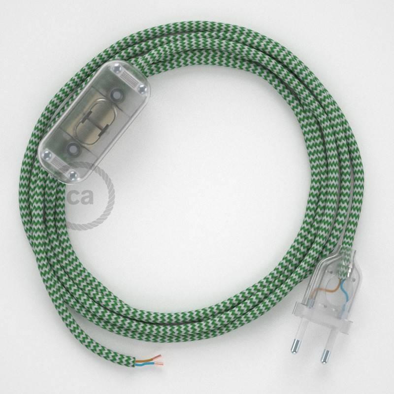 Ronde flexibele textielkabel van viscose met schakelaar en stekker.RZ06 - zigzag wit/groen 1,80 m.