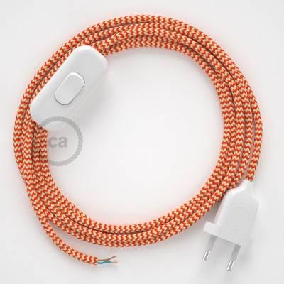 Ronde flexibele textielkabel van viscose met schakelaar en stekker.RZ15 - zigzag wit/oranje 1,80 m.