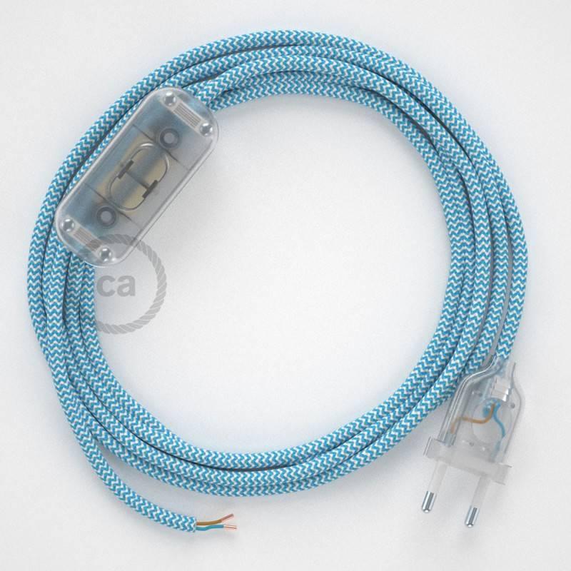 Ronde flexibele textielkabel van viscose met schakelaar en stekker. RZ11 - zigzag wit/turquoise 1,80 m.