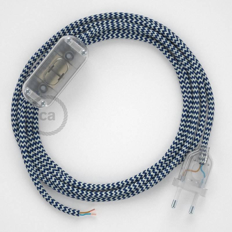 Ronde flexibele textielkabel van viscose met schakelaar en stekker. RZ12 - zigzag wit/blauw 1,80 m.