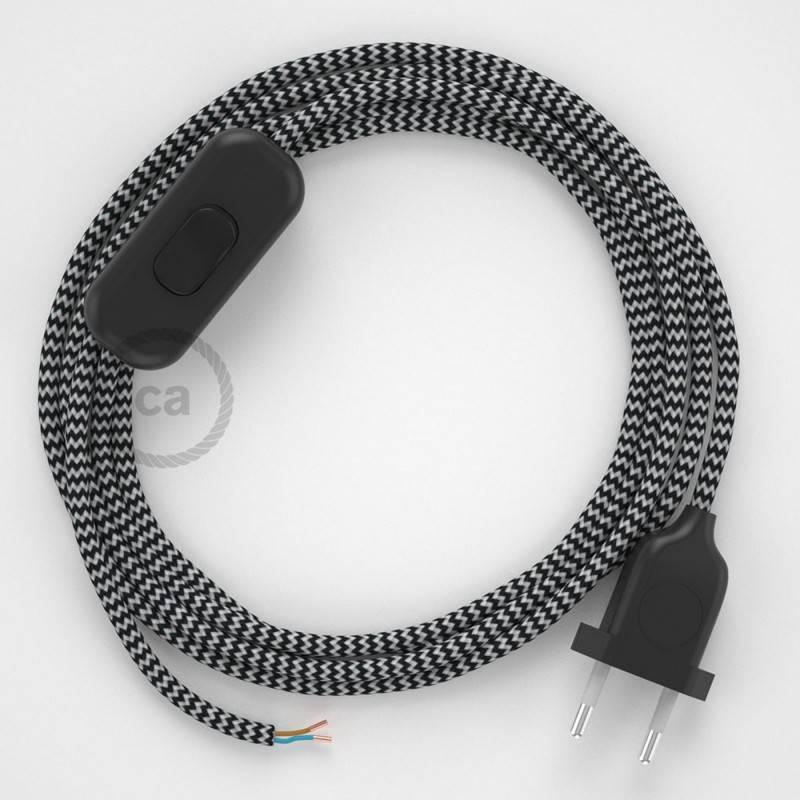 Ronde flexibele textielkabel van viscose met schakelaar en stekker. RZ04 - zigzag wit/zwart 1,80 m.
