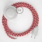 Strijkijzersnoer set RP09 rood - wit tweekleurig viscose 3 m. voor staande lamp met stekker en voetschakelaar.