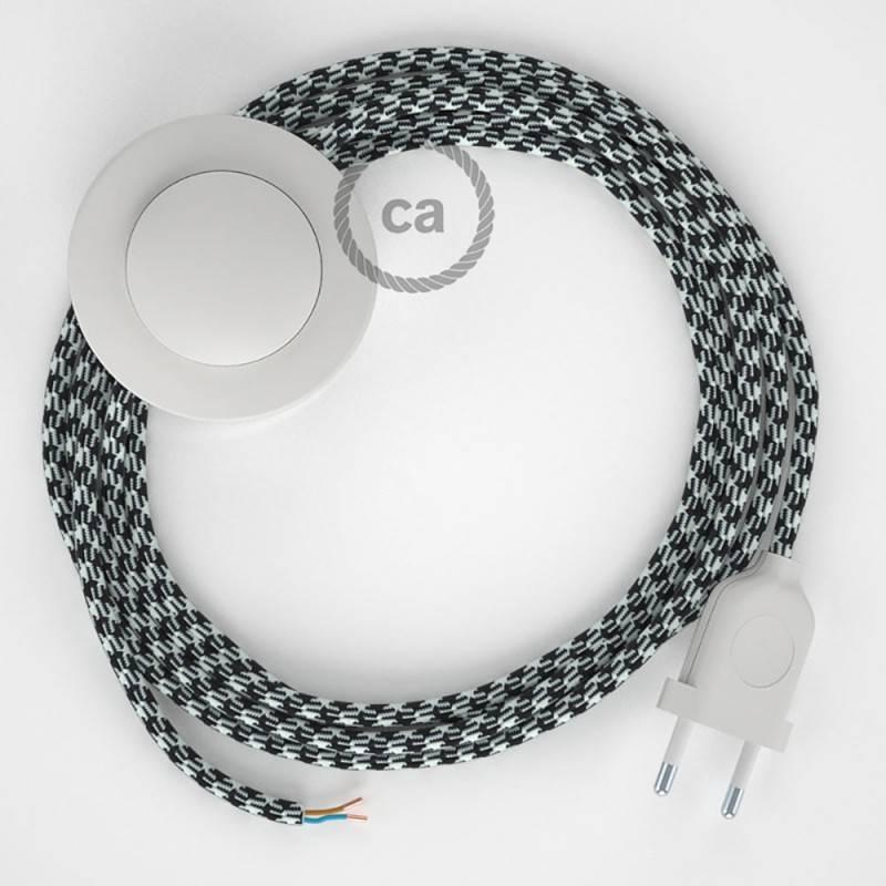 Strijkijzersnoer set RP04 zwart - wit tweekleurig viscose 3 m. voor staande lamp met stekker en voetschakelaar.