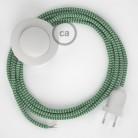 Strijkijzersnoer set RZ06 groen zigzag viscose 3 m. voor staande lamp met stekker en voetschakelaar.