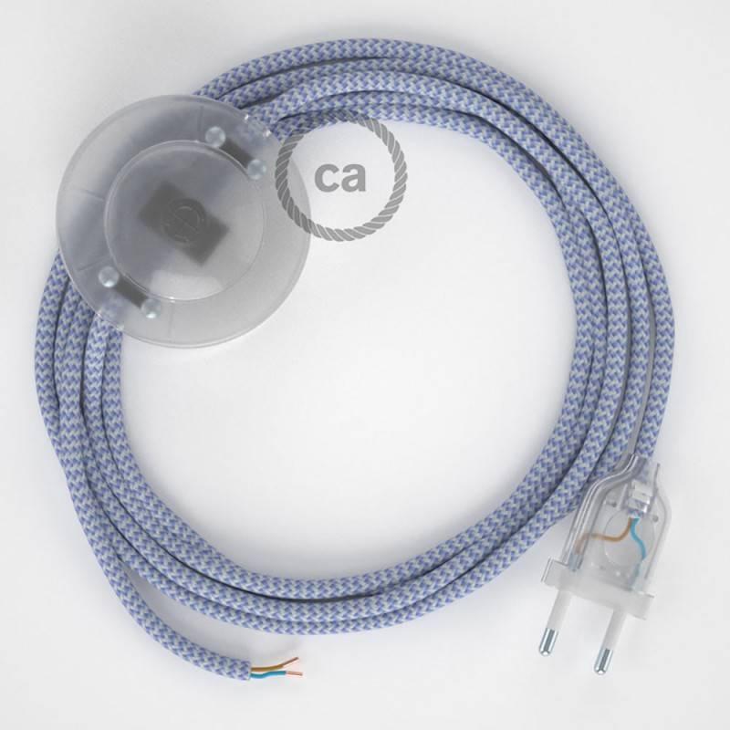 Strijkijzersnoer set RZ07 lila zigzag viscose 3 m. voor staande lamp met stekker en voetschakelaar.