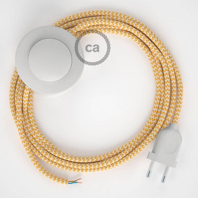 Strijkijzersnoer set RZ10 geel zigzag viscose 3 m. voor staande lamp met stekker en voetschakelaar.
