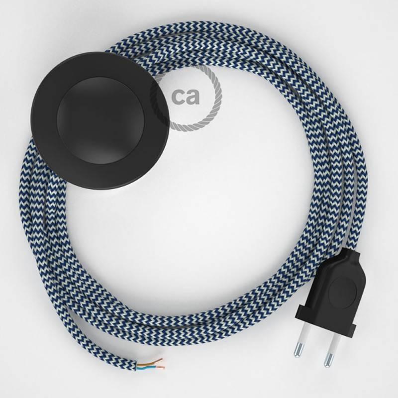 Strijkijzersnoer set RZ12 blauw zigzag viscose 3 m. voor staande lamp met stekker en voetschakelaar.