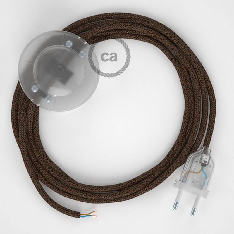 Strijkijzersnoer set RL13 bruin viscose 3 m. voor staande lamp met stekker en voetschakelaar.