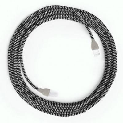 LAN - Ethernet textielkabel zigzag RZ04 zwart - Cat 5e RJ45