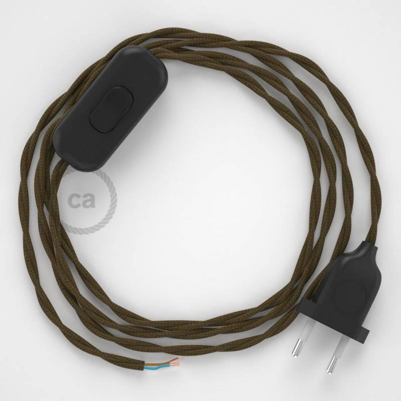 Gevlochten flexibele textielkabel van katoen met schakelaar en stekker. TC13 - bruin 1,80 m.