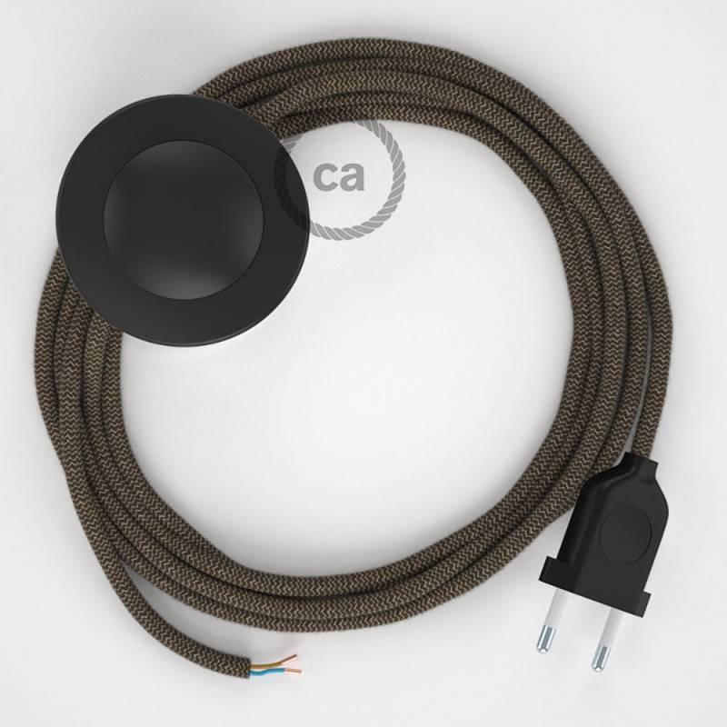 Strijkijzersnoer set RD73 bruine bast zigzag katoen en natuurlijk linnen 3 m. voor staande lamp met stekker en voetschakelaar.