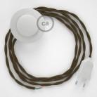 Strijkijzersnoer set TC13 bruin katoen 3 m. voor staande lamp met stekker en voetschakelaar.