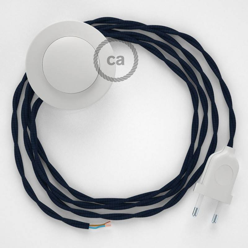 Strijkijzersnoer set TM20 donkerblauw viscose 3 m. voor staande lamp met stekker en voetschakelaar.
