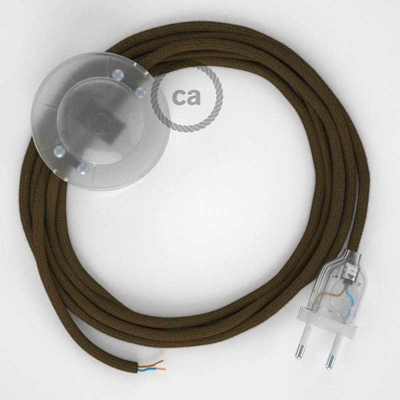 Strijkijzersnoer set RC13 bruin katoen 3 m. voor staande lamp met stekker en voetschakelaar.