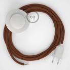 Strijkijzersnoer set RC23 hertbruin katoen 3 m. voor staande lamp met stekker en voetschakelaar.