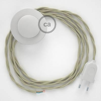 Strijkijzersnoer set TC43 ecru katoen 3 m. voor staande lamp met stekker en voetschakelaar.