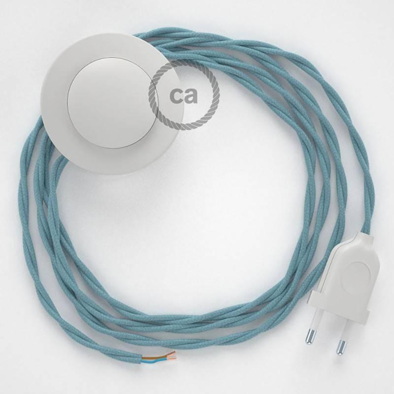 Strijkijzersnoer set TC53 zeeblauw katoen 3 m. voor staande lamp met stekker en voetschakelaar.