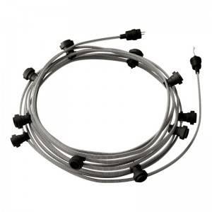 Lumet - 12,5 meter lichtsnoer met 10 zwarte fittingen, haak en stekker