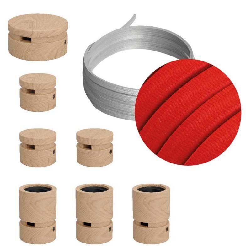 Mini cilindrisch metaal 2 centrale gaten + 4 zijgaten plafondkap kit