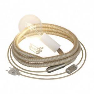 Snake Bis-bedrading met houten fitting, metalen eindklem en 2XL touw van jute en ruw wit katoen