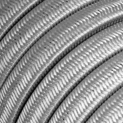 Met textiel omweven 220 V prikkabel, zilver viscose CM02