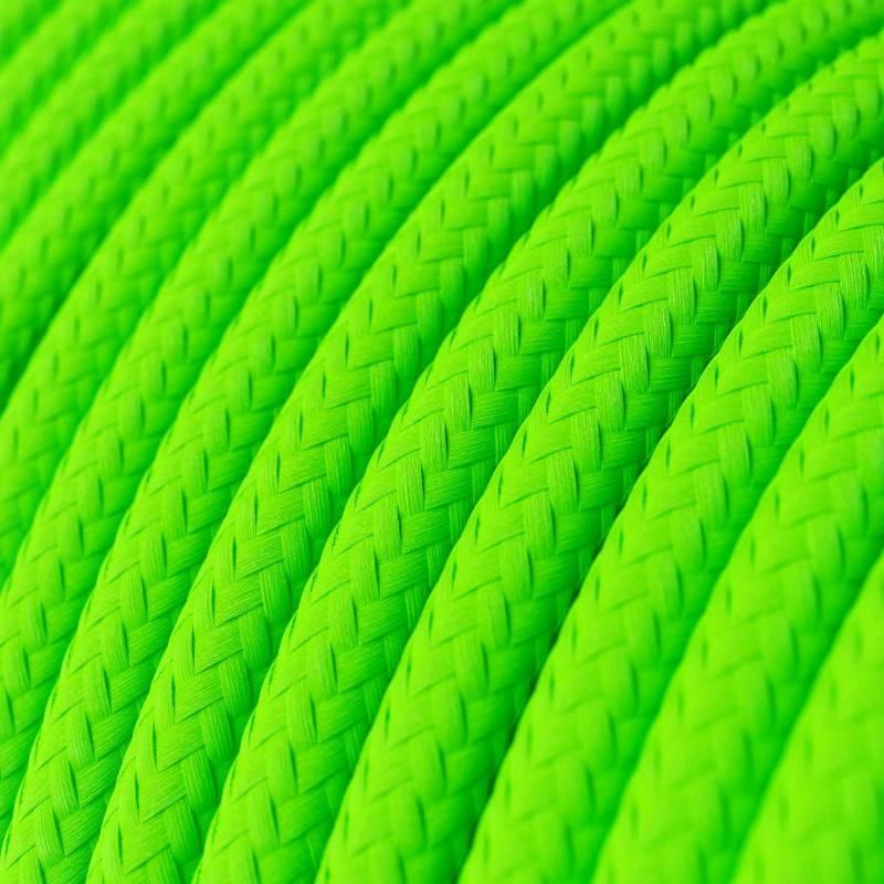 Gevlochten textielkabel van viscose met schakelaar en stekker. TM06 - groen 1,80 m.