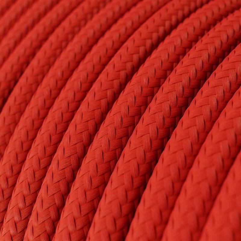 Ronde flexibele textielkabel van viscose met schakelaar en stekker. RM09 - rood 1,80 m.
