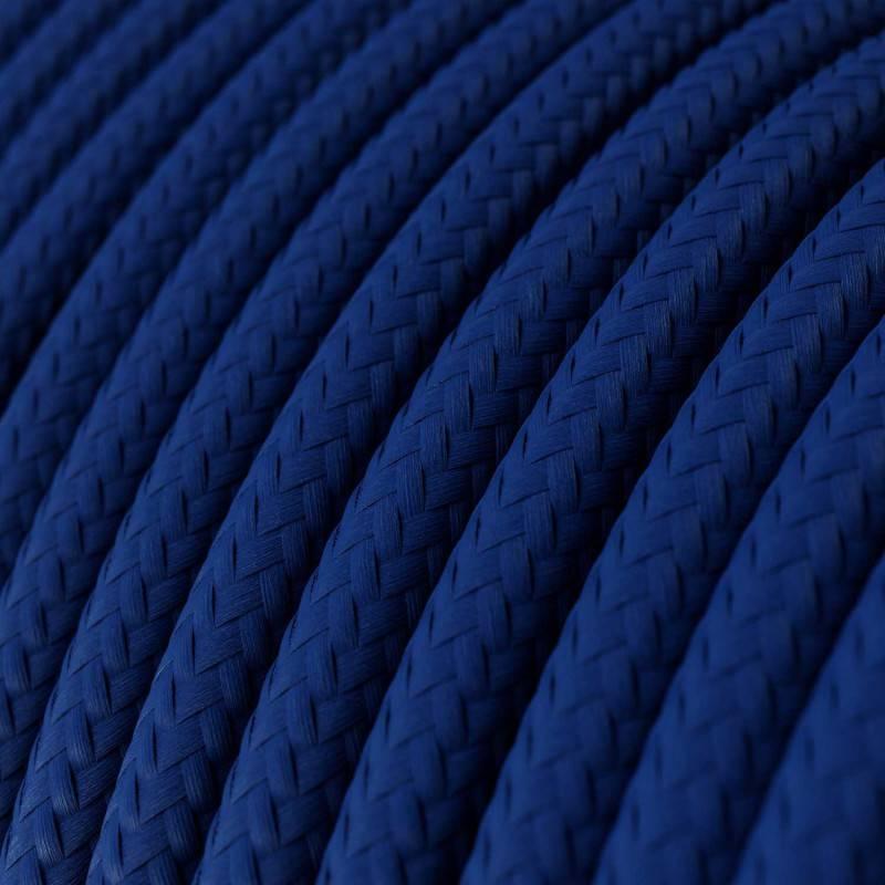 Ronde flexibele textielkabel van viscose met schakelaar en stekker. RM11 - turquoise 1,80 m.