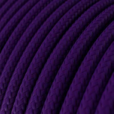 Ronde flexibele textielkabel van viscose met schakelaar en stekker. RM12 - blauw 1,80 m.