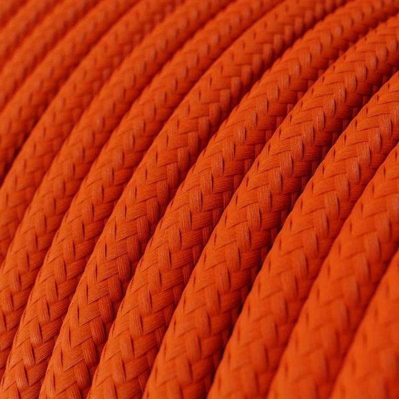 Ronde flexibele textielkabel van viscose met schakelaar en stekker. RM13 - bruin 1,80 m.