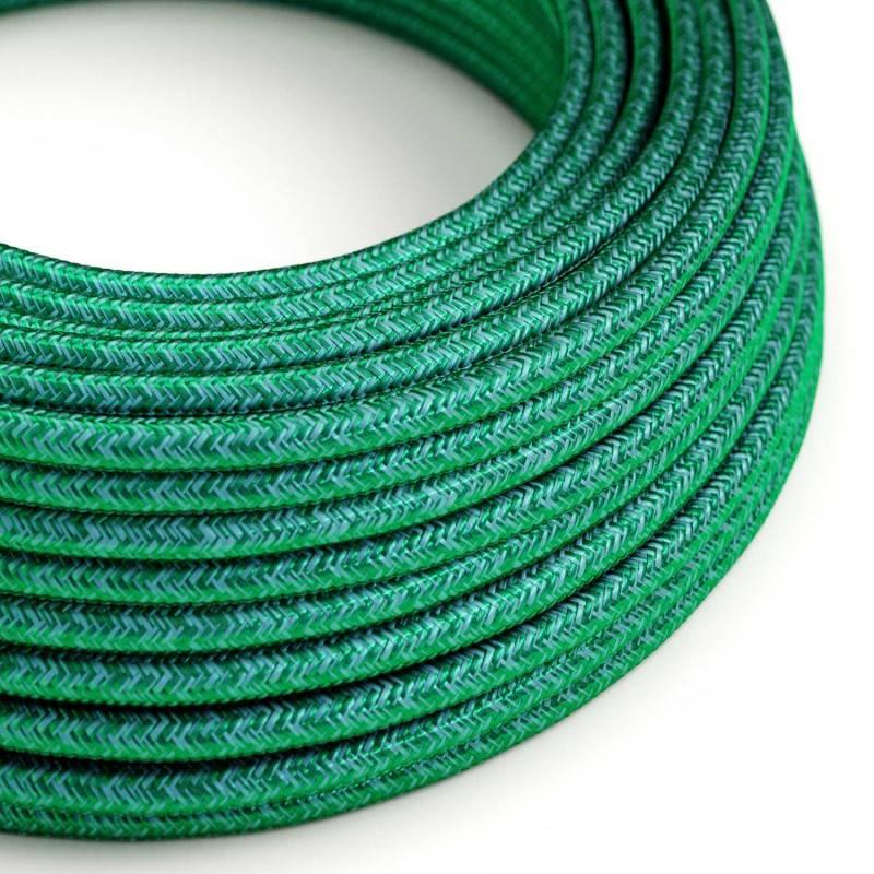 Ronde flexibele textielkabel van viscose met schakelaar en stekker. RF15 - oranje fluo 1,80 m.
