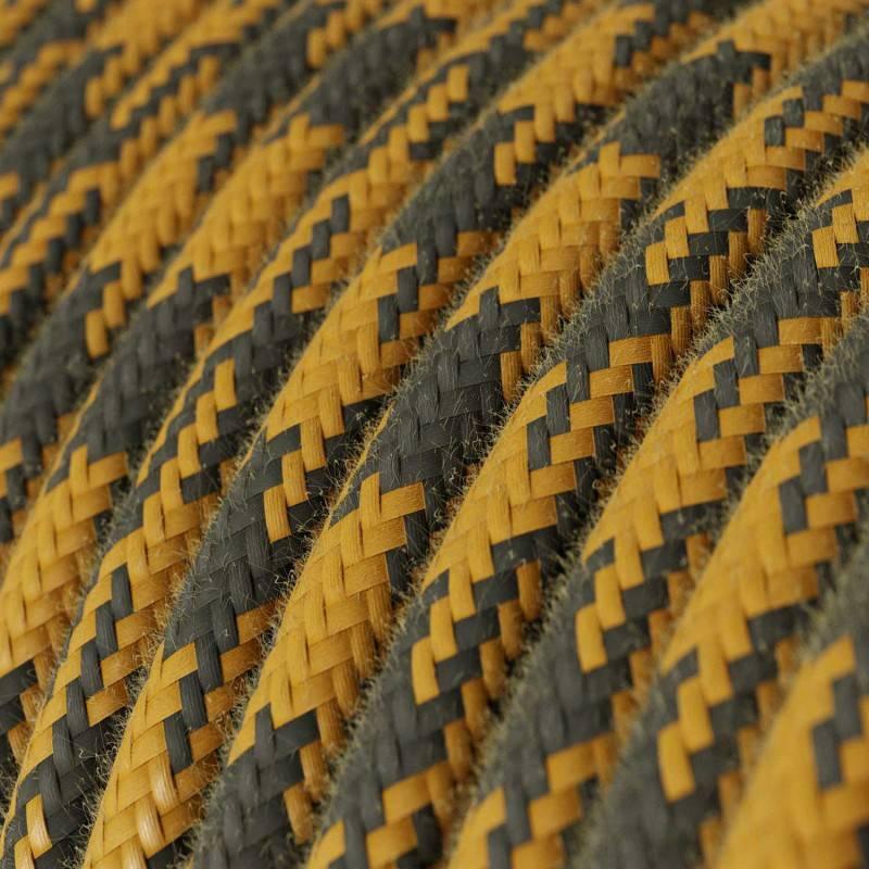 Ronde flexibele textielkabel van viscose met schakelaar en stekker. RM18 - limegroen 1,80 m.
