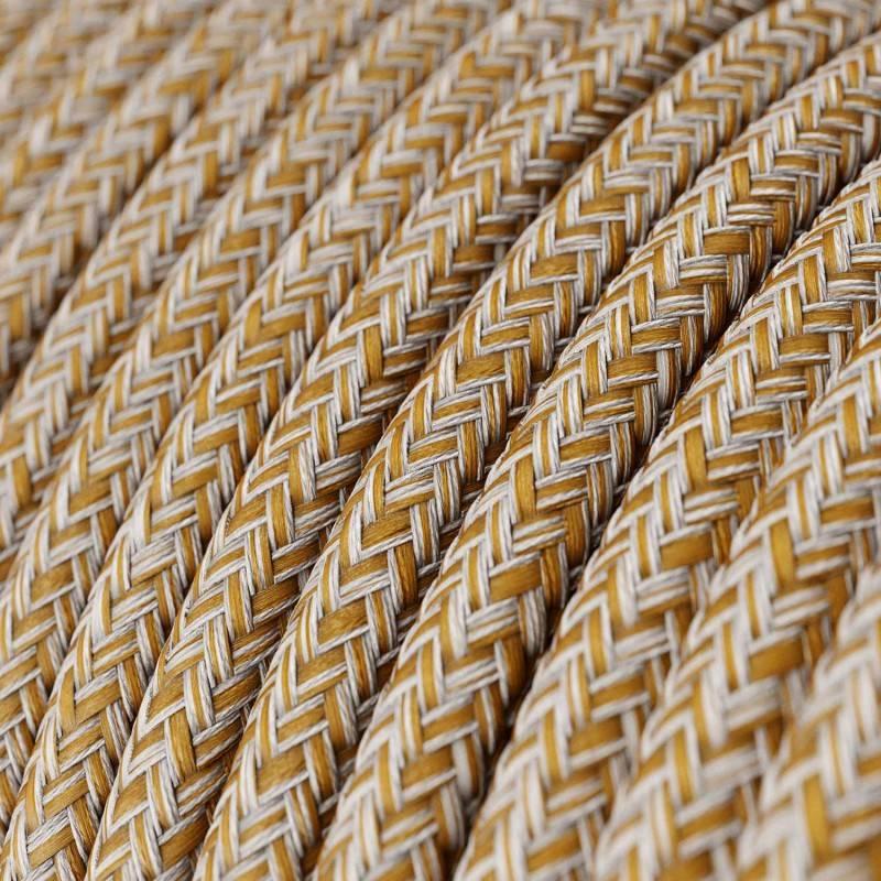 Ronde flexibele textielkabel van viscose met schakelaar en stekker. RM03 - grijs 1,80 m.