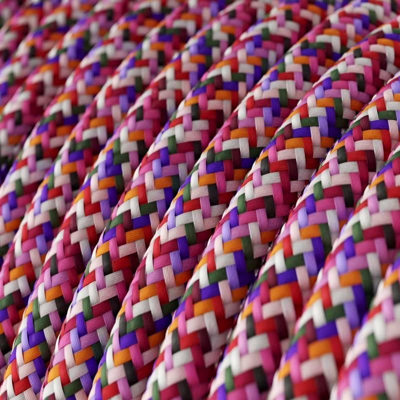 Ronde flexibele textielkabel van linnen met schakelaar en stekker. RN01 - natuurlijk linnen 1,80 m.