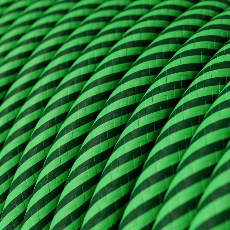 Gevlochten textielkabel van viscose met schakelaar en stekker. TM02 - zilver 1,80 m.