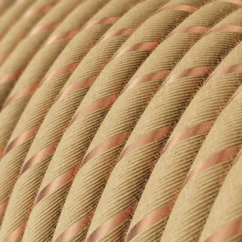 Ronde flexibele textielkabel van viscose met schakelaar en stekker. RL01 - lame (glinsterend) wit 1,80 m.