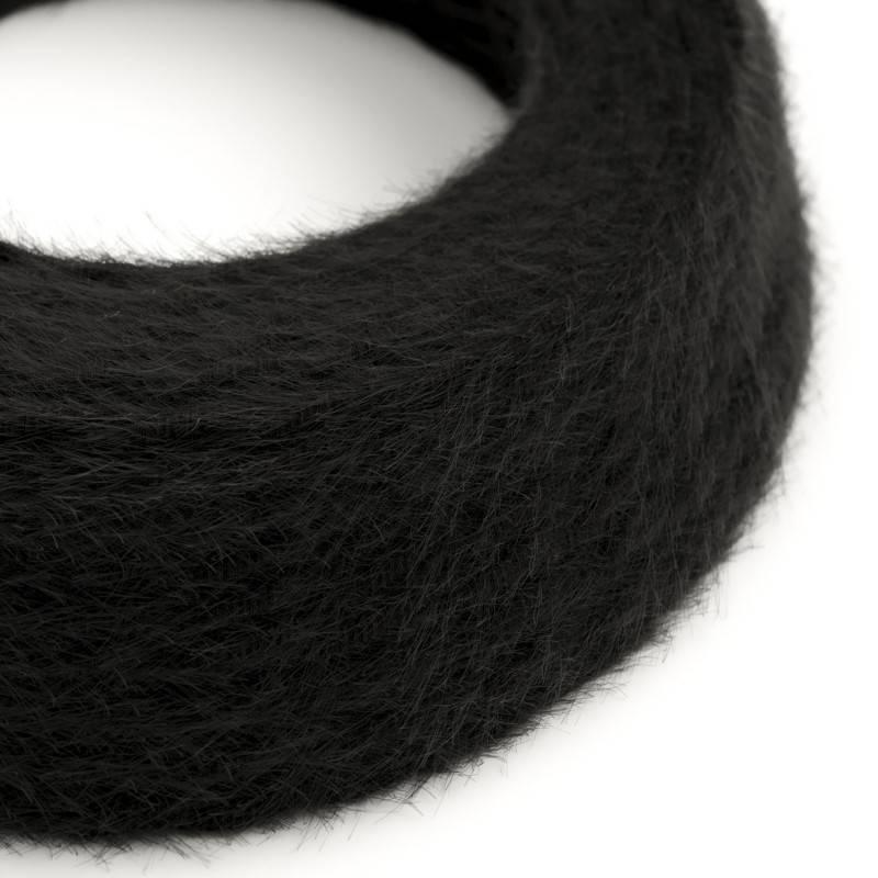 Ronde flexibele textielkabel van viscose met schakelaar en stekker. RL02 - lame (glinsterend) zilver 1,80 m.